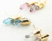 Keilani earrings - aqua quartz point stud earring, gold stud earring, quartz gold earring, gold boho earring, boho jewelry, maui, hawaii