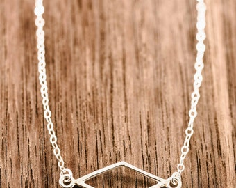 Hokuaonani necklace - sterling silver diamond necklace, layering necklace, delicate silver necklace, bridesmaid gift, maui, hawaii wedding