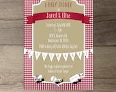 Picnic Baby Shower Invitation • Red white khaki gingham ants • co-ed BBQ baby shower • printable Invitation