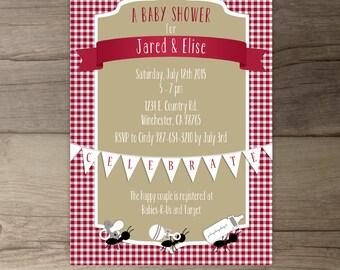 Picnic Baby Shower Invitation • Red white khaki gingham ants • co-ed BBQ baby shower • DIY Printable Invitation
