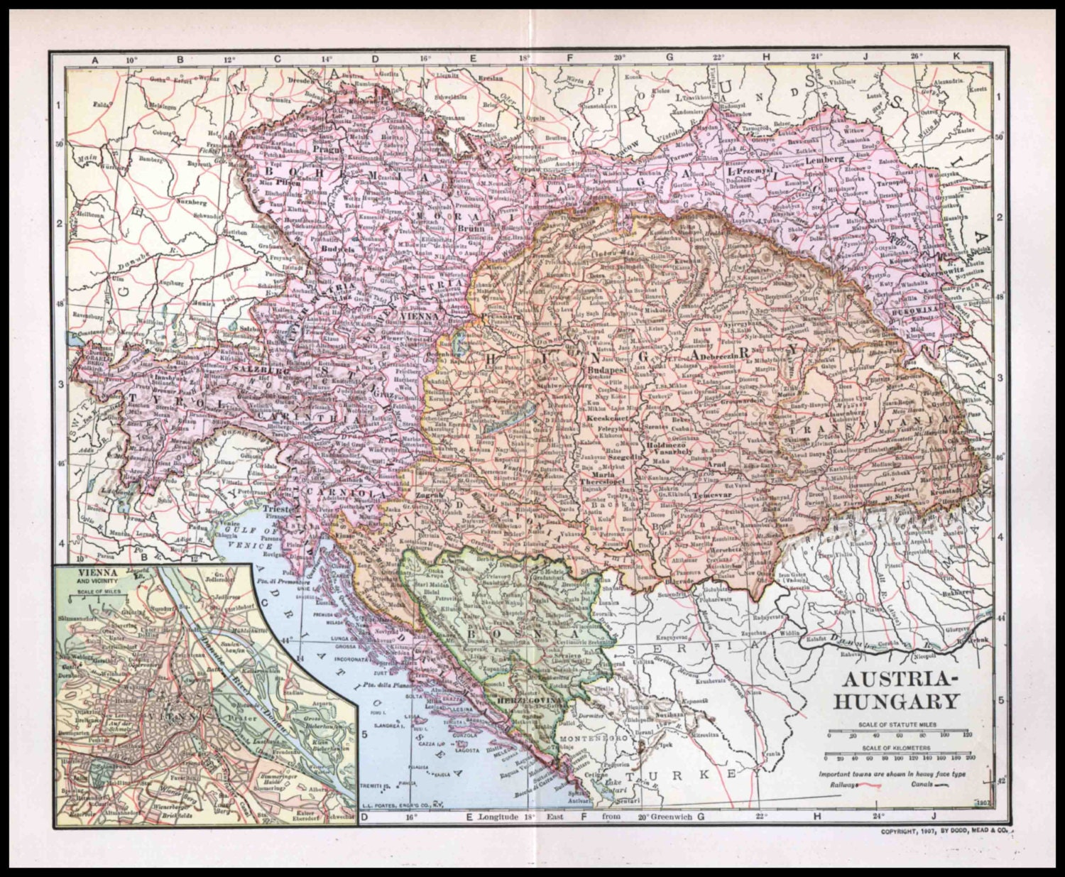 map of austria hungary 1900 1907 with Austria Hungary Antique Map 1907 Dodd on The Austro Hungarian Empire In 1897 besides India Maps as well Austria Hungary Antique Map 1907 Dodd moreover File Yuzhakov Big Encyclopedia Map of Austria Hungary additionally Literacy Rate In Austria Hungary 1880.