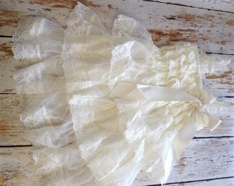 Ivory Lace Dress, Baby Girl Dress, Lace Ruffle Dress, Ivory Petti Lace Dress, Flower Girl Dress