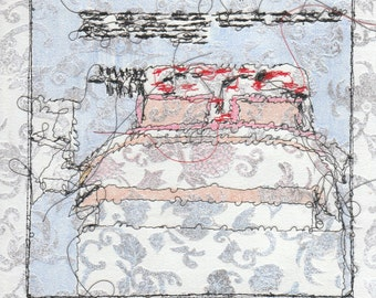 Bed Stitch draw on wallpaper