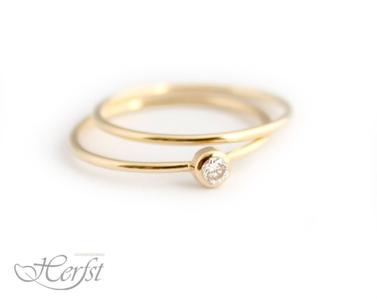 14k solid gold ring with stacking ring engagement