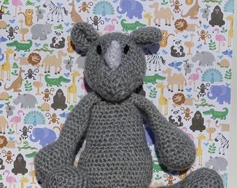 Crochet Rhino, Crochet Toy, Amigurumi Toy Rhino, Safari Toy, Stuffed Rhino, Kids Toy, Crocheted Toy, Rhino, All Handmade, Ready to Ship