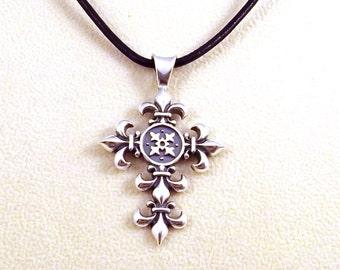 Sterling Silver Fleur de Lis Cross Pendant on a Black 2mm Leather Necklace - 1808