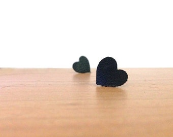 "Heart post earrings with black leather,  named ""Hera"""