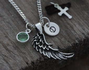 Silver Angel Wing Necklace -Wing Necklace - Sterling silver wing Pendant initial Birthstone choose chain, Silver wing - Angel Wing Jewelry.
