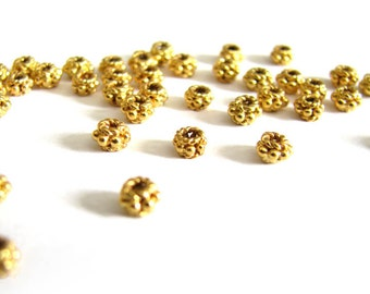 SALE Gold Vermeil  4mm Granulated Spacers 10 pcs SP208 granulated roped artisan spacer beads