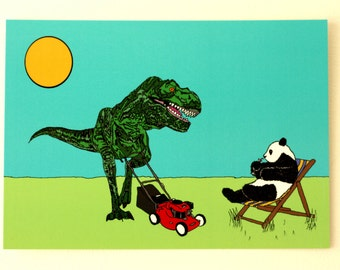 T-Rex Extreme Gardening A6 Postcard