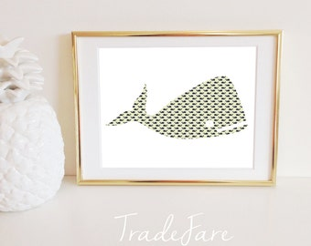 Whale Print, Nautical, Black Tan Taupe Pattern, Instant Digital Download, Gallery Wall Display Decor, Frame, Wall Hanging, 8x10, Nursery