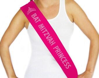 Bat Mitzvah Princess Sash - Pink Jewish Banner, Sash