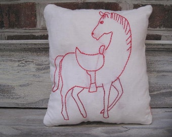 Horse  Embroidery Pillow With Quilt Backing