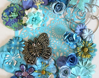 Blue Flowers by the Bunch* Flower Inspiration Kit*Shabby Chic Flowers