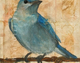 Blue Bird Painting Blue Bird Art Animal Art Print Painting Of Bird