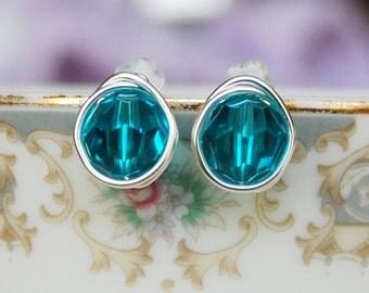 Blue Zircon Studs , December Birthstone Earrings , Swarovski Blue Green Studs