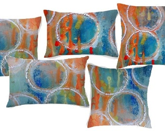 Abstract Art Throw Pillows. Home Decor featuring original artwork printed on 4 custom pillows