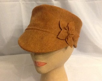 Tan Felt Hat with Detachable Flower