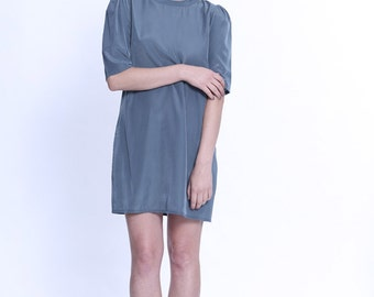 Evening dress, Teal Dress With Puffed Sleeves, Loose Fit Dress, Silk Dress