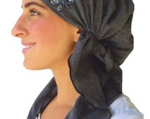 Cotton /Spandex Charcoal Grey Fancy Pre Tied Head Scarf, Wrap, Chemo Scarf, Hair Loss, Modern Fashionable Bandana Head Covering