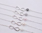 Set of 4 Bridesmaid Infinity Bracelets, Infinity Pearl Bracelets, 4 Infinity and Pearl Bracelets - Sterling Silver Chain 0217