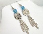 Blue Crystal Earrings, Aquamarine Jewelry, Chain Earrings, Sterling Silver Drop Earrings, Hammered Jewelry, Long Dangle Earrings
