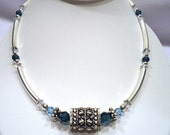 Blue Swarovski Crystal Necklace, Holiday Gift for Wife, Beaded Jewelry, Sterling Silver Tube Necklace, Statement Jewelry, Bold Jewelry