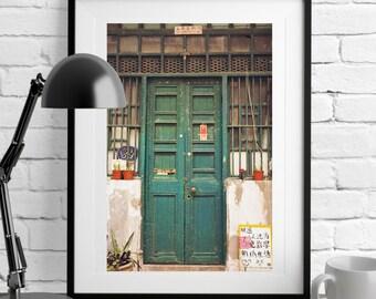 Hong Kong Door Photography, Green Chinese Door, Hong Kong Street Scene, Hong Kong Art Photography, Door Print, Fine art photography