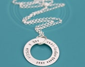 Personalized Family Necklace, Hand Stamped Sterling Necklace, Engraved Silver Mother Necklace, Custom Round Washer Pendant Family Name Charm