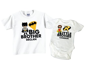 Personalized Big Brother Shirts and Matching Superhero Little Brother Shirts