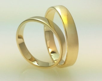 Recycled 14k Gold Wedding Band Set, Brushed Gold, His & Her Wedding Ring, Eco Friendly,Handmade Wedding Ring Set