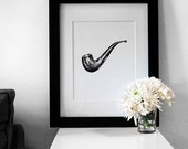 Fashion Illustration: Men's Tobacco Smoking Pipe Art Print (Charcoal + Mixed Media)