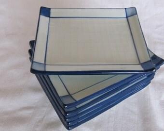 Vintage 80's Asian Blue White Ceramic Plates