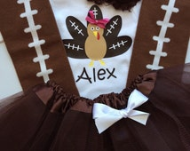 Toddler Girl thanksgiving outfit- thanksgiving tutu- Girl's fall outfit - football turkey outfit - Toddler Girl Fall outfit - Brown tutu