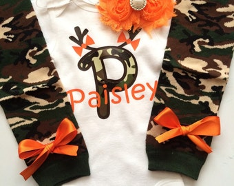 Baby Girl CAMO Hunting outfit -camo leg warmers - legwarmers - hunting baby - baby photo prop - personalized baby girl outfit