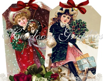 Christmas Download Vintage Christmas Postcard Digital Download