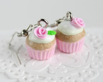 Pink cupcake earrings: baby pink rose - Miniature food jewelry