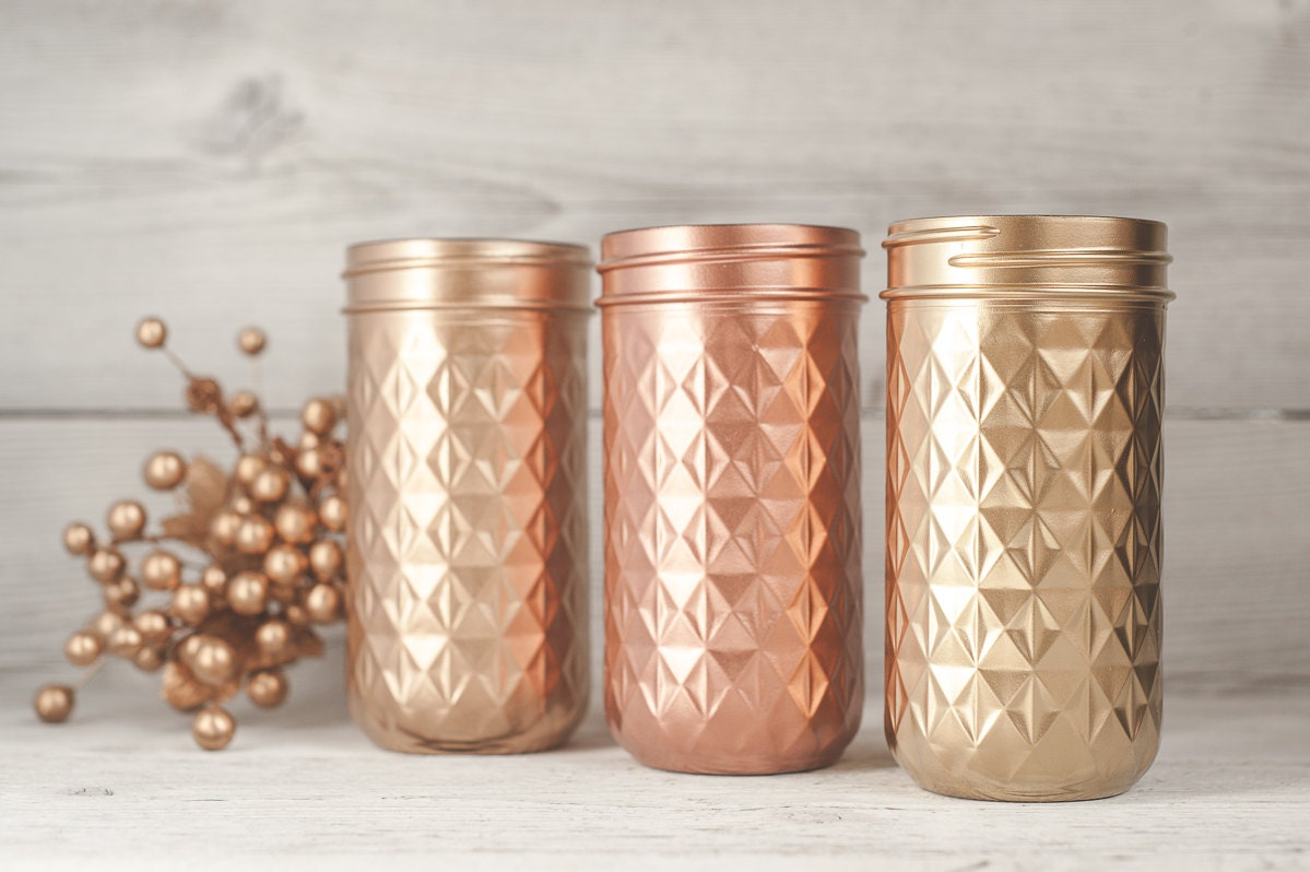 Mason Jars Gold Vases Copper Decor Table by KAStylesMasonJars