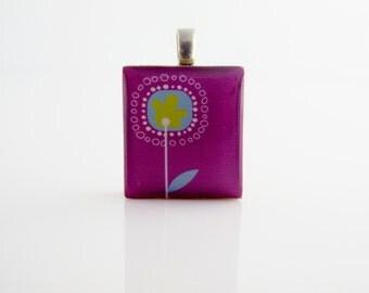 Purple Retro Flower Scrabble Pendant - Scrabble Tile on Sterling Silver 925 bail & chain, Purple Flower Necklace,retro necklace