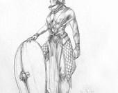 Shield Maiden Adult Fantasy Art Original Drawing Pencil Sketch Warrior Woman