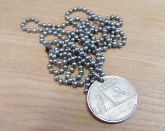 Thailand - Thai Bhat - Foreign Coin Necklace with Stainless Steel Ball Chain - Architecture