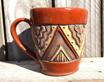Hand Built Aztec Mug - Deep Hand Carved - Sienna, Red, Brown, Tan -  Triangles, Chevron - Coffee, Tea -  12 oz to 14 oz
