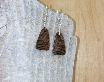 Exotic Wood - Beautiful End Grain Chocolate Brown and Black Wooden Earrings with Sterling Silver French Ear Wires