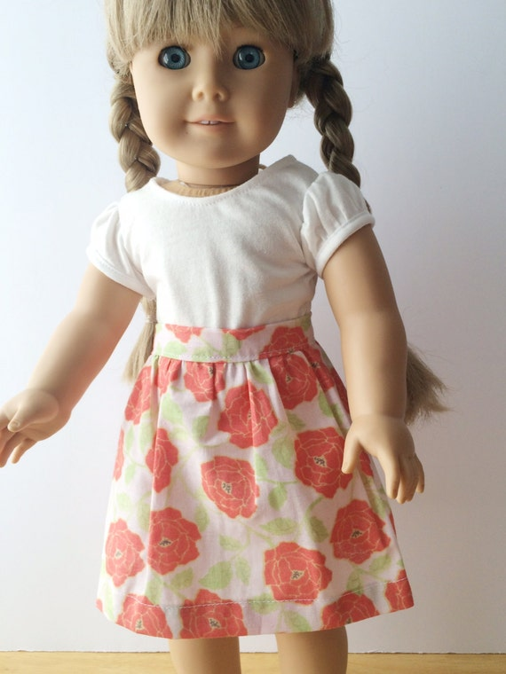 "American Girl 18"" Doll Clothes Coral Garden Rose Skirt"