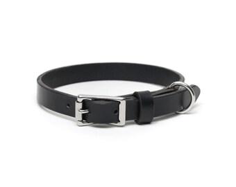 Leather Slim Dog Collar | Black
