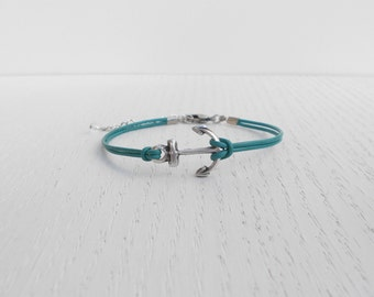 Summer SALE - Anchor leather bracelet, Silver anchor bracelet
