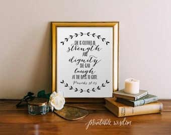 Bible verse art Printable, Christian nursery wall art print, poster decor - Proverbs 31 inspirational quote laurel calligraphy, digital
