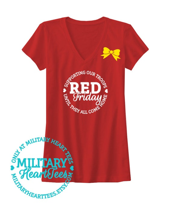 Red friday tshirt army air force marines navy by for Red support our troops shirts