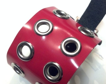 Red Leather Eyelet Cuff
