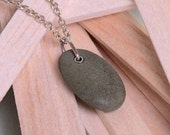 Grey pebble necklace with sterling silver chain
